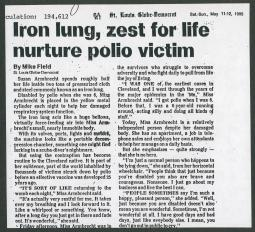 1985 interview in the St. Louis Globe-Democrat with Susan Armbrecht, an iron lun
