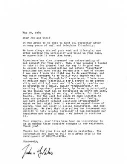 Letter from Justin & Yoshiko Dart to Gini & Joe Laurie, 1980.