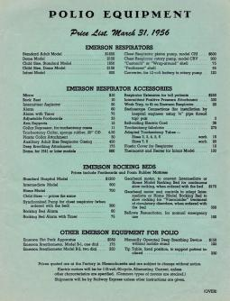 JH Emerson Company Price List from 1956